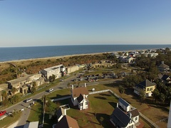 Tybee Island Light Station Aerial Fly By Stock Footage