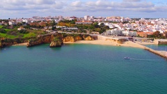 Aerial from Lagos in the Algarve Portugal Stock Footage