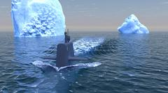 Submarine travelling on the surface of the Arctic ocean Stock Illustration