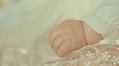 Little newborn child's hand.Close up shot with small depth of field Stock Footage