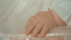 Close up of little newborn child's hand.Shot with small depth of field Stock Footage