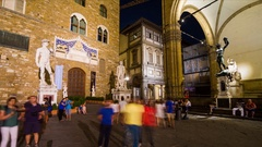 Time lapse 4k  Night view of Piazza della Signoria in Florence, Tuscany Italy Stock Footage