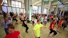 People taking steps on fitness dance in DI Telegraph. Stock Footage