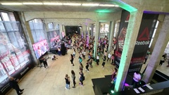 Panorama of hall with dancing people on fitness dance in DI Telegraph. Stock Footage
