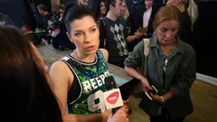 Valeria Lenovitskaya giving interview to Hello TV on fitness dance Stock Footage