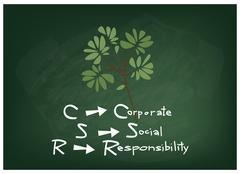 Corporate Social Responsibility Concepts on A Green Chalkboard Stock Illustration