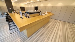 Empty clear counter in cafe with chairs and electric lights Stock Footage