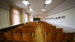 Classroom with blackboard off and on light in branch of Institute of Physics Stock Footage