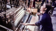 The lady weaving cloth in the studio, Hunan, China. Stock Footage