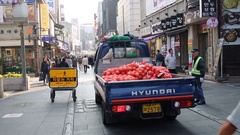 Small truck Hyundai with bunch of onion and man with barrow Stock Footage