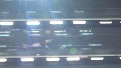 Morning sunlight beaming through windows plastic shutters Stock Footage