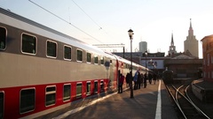 Two-storeyed train standing at platform on Kazanian railroad station Stock Footage