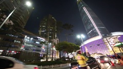 View from car window to Lotte World Tower and car on road Stock Footage