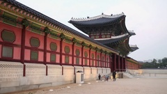 Wall and entrance in palace Gyeongbokgung from stone and wood Stock Footage