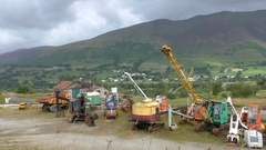 Old mining machines in a scrapyard Stock Footage