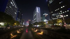 Panorama Han river near illuminated streets, building and people at night. Stock Footage