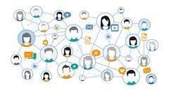 Graphic representation Social media Network Stock Illustration