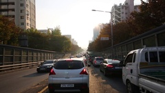 Cars on one side of road standing in traffic jam Stock Footage