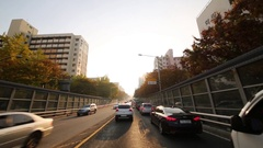 Cars in traffic jam slowly moving in one side of road Stock Footage