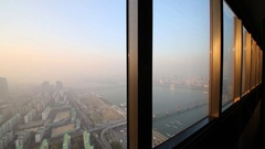 View from windows of tower to Han river and buildings and parks of Seoul. Stock Footage