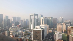 Panorama of highrise apartment and business buildings on cityscape Stock Footage