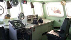 Cabin of ship with apparatus and control rudders in military museum Stock Footage