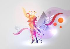 Dance Girl on Modern Abstract Background - Vector Illustration Stock Illustration