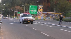 HAIFA, ISRAEL, 2016: Ambulance drives to headquarter during fires Stock Footage