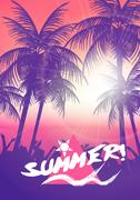 Tropic Summer Beach Party, Vacation and Travel Poster - Vector Illustration Stock Illustration