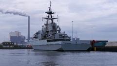 British Navy vessel 4k clip Stock Footage