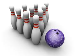 Bowling skittles and ball Stock Illustration