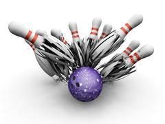 Bowling ball smashing into pins Stock Illustration