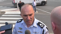 Major General Amos Yaakov of Israeli Police speak to the press Stock Footage
