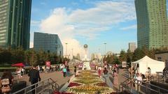 Bayterek Astana Flowersbed Time Lapse 4K Stock Footage