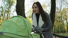 Young mother rocking a baby in a stroller in the park in autumn. Stock Footage
