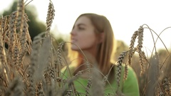 Young woman in golden wheat field. Stock Footage