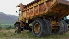 Old rusty abandoned dumper truck close up Stock Footage