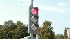 Traffic light in the city Stock Footage