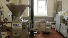 Sausage shop, machine for the production of sausages from fresh meat Stock Footage