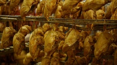 Smoked chicken legs on the production of the smokehouse Stock Footage