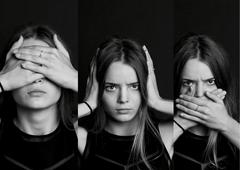 Collage see no evil, hear , speak . . The girl with long hair in b W Stock Photos