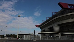 San Siro football arena in Milan, Italy Stock Footage