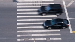 Aerial view of people on busy pedestrian crossing, Shanghai, China. Time lapse. Arkistovideo