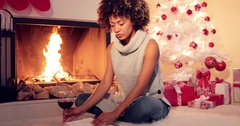 Attractive stylish woman celebrating Christmas Stock Footage