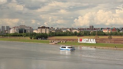 Astana Boat River Stock Footage