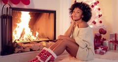 Gorgeous stylish young woman celebrating Christmas Stock Footage