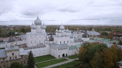 Top view Assumption Cathedral in Rostov Kremlin, Russia Stock Footage