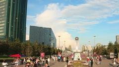 Bayterek Astana Flowersbed Time Lapse 4K Panorama Stock Footage