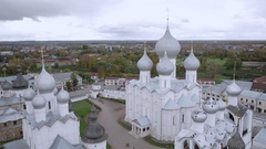 Aerial shot city skyline and sights of Rostov the great, Russia Stock Footage