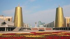 Astana Bayterek 4K Flowers Zoom Stock Footage
